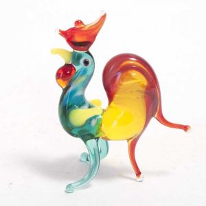 Rooster glass figurine