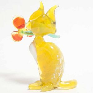 Glass Cat with Flower