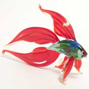 Glass Red Fish Figure