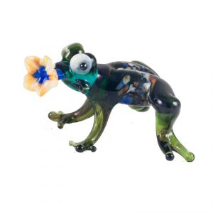 Glass Figurine Frog with Flower, fig. 1